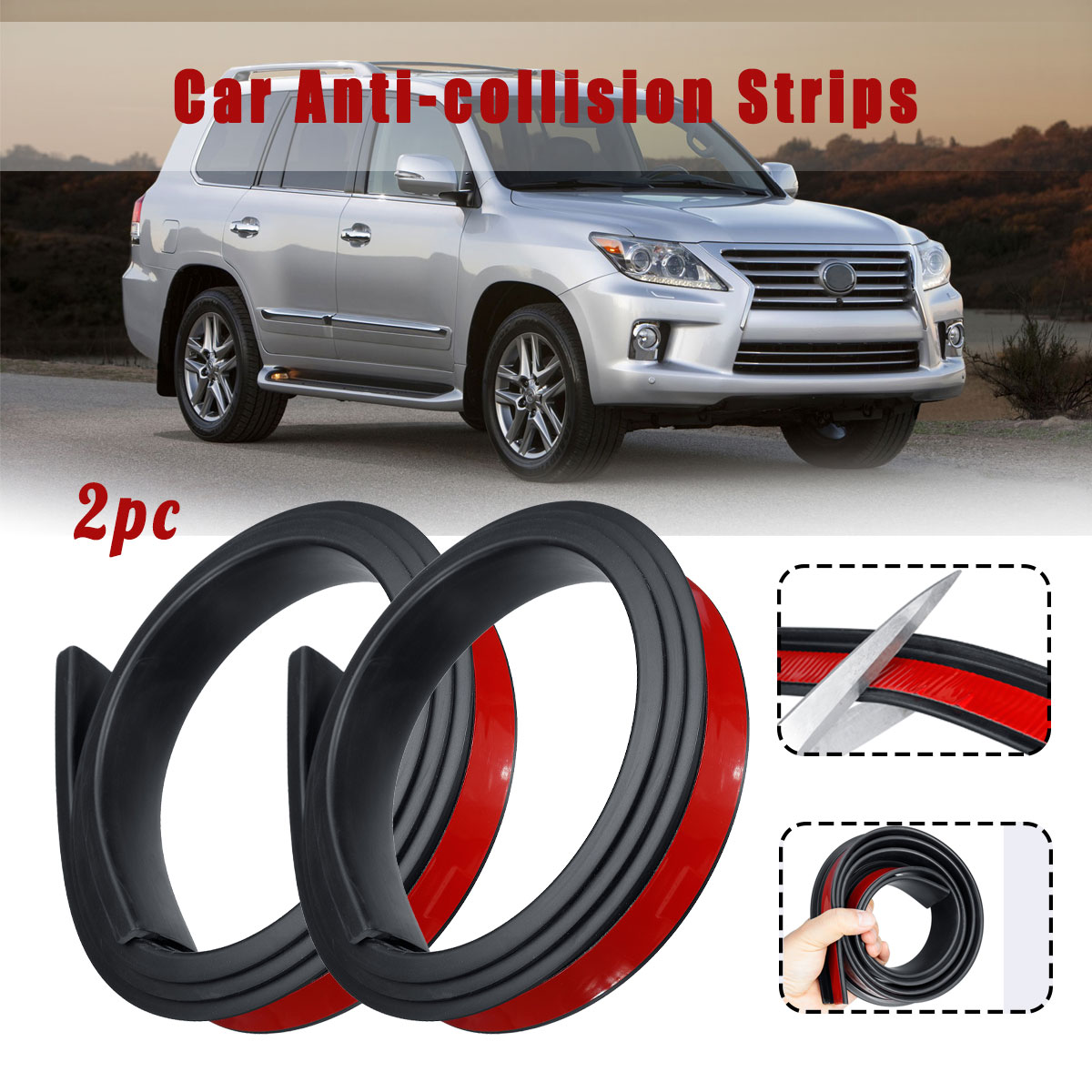 2Pcs Universal Car Tire Wheel Brow Arch Protection Rubber Moldings Anti-collision Mudguard Wheel Protection Cover Sticker Strips