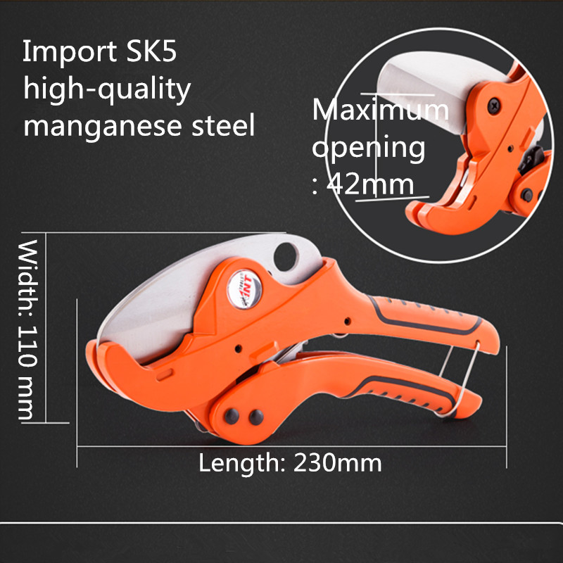 Imports of manganese steel PVC pipe cutter cutting device (335 models) rdeer 42mm pvc pipe cutter pp r pu pe pipe plastic hose ratcheting cutters stailess steel blade cutting tool