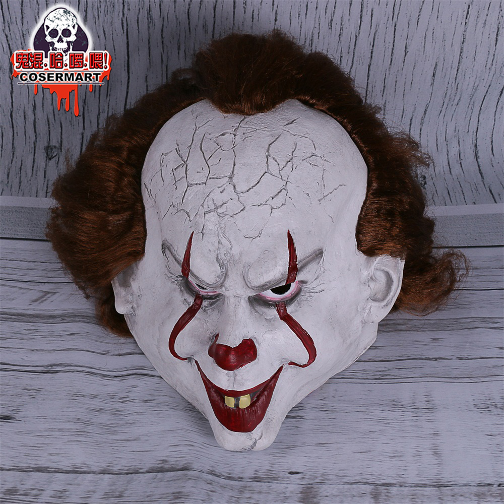 2017 Movie Stephen King's It mask Joker Mask Tim Curry Horrible Mask Cosplay Halloween Party (4)