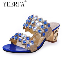 YEERFA Summer Wedges Sandals 2018 Bling Flip Flops Rhinestone High Heels  Slip On Slides Casual Platform e9fb3be2d62c