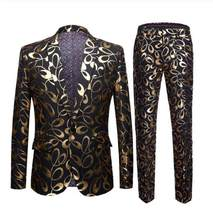 Brand New Tide Male Plus Size 5XL Gold Floral Pattern Slim Fit Mens Suits With Pants Wedding Groom Tuxedo Singer Costume(China)