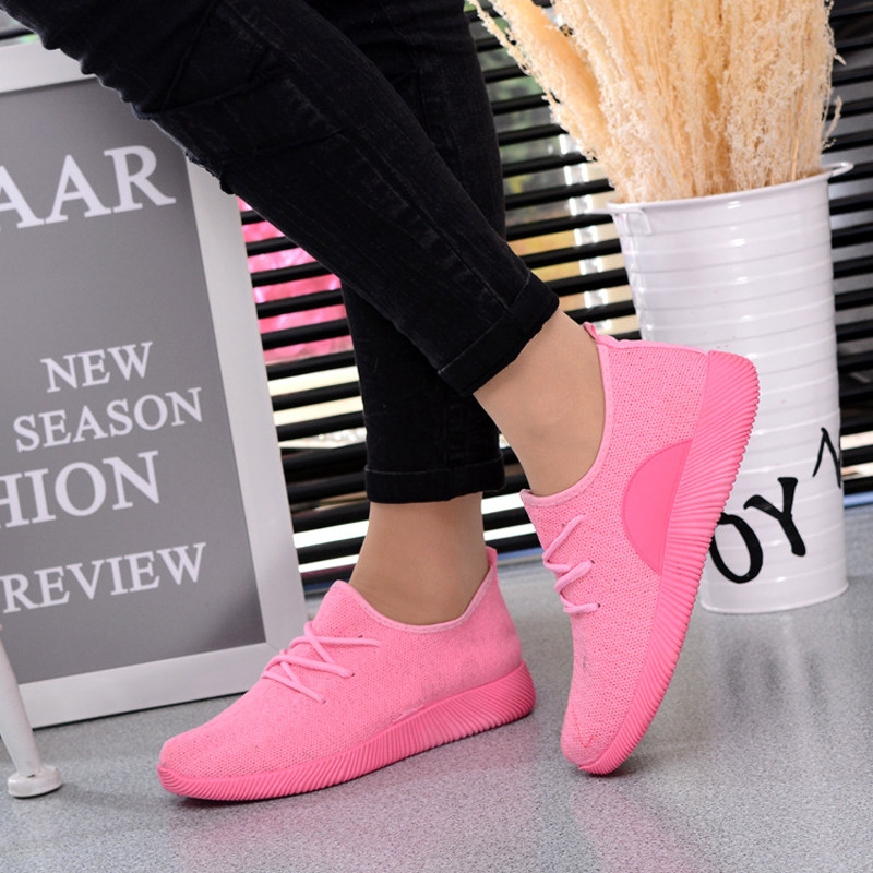 2018 new Women's Casual Breathable Air Mesh Shoes Lightweight Slip On Summer Flats dames sneakers sneakers white woman 1