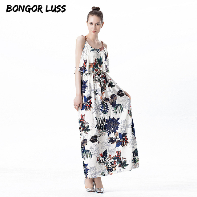535236479b8f3 US $21.2 |BONGOR LUSS Summer women dress 2019 female floral print Sling  long dress bohemian Mini ruffles Slim fit Holiday beach dress-in Dresses  from ...