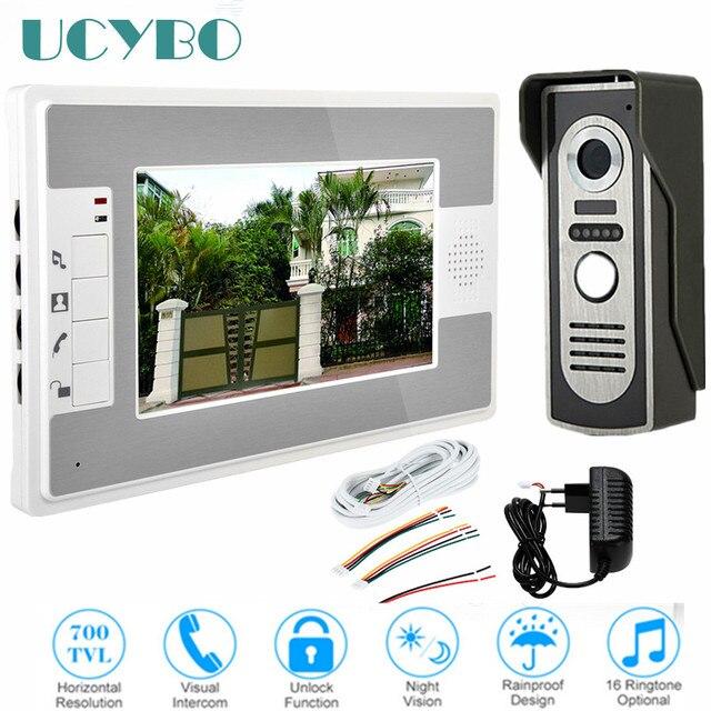 """7"""" video intercom doorbell night vision IR 700tvl door camera waterproof unlock for home apartment video door phone system"""