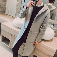 2018 New Autumn Korean Thick Wool Coat Youth Solid Medium Long Sections Windproof Coat Slim Fit Business Casual Woolen Coats