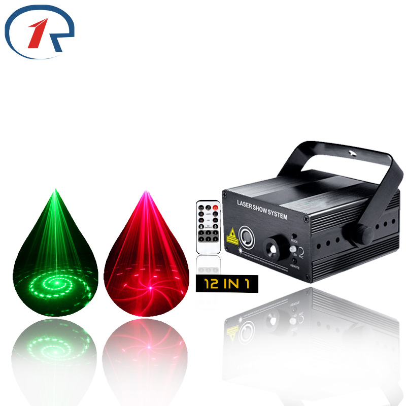 ZjRight IR Remote 12 patterns RG laser stage light Mix Blue Led lights holiday party ktv disco dj bar projection Xmas lighting transctego laser disco light stage led lumiere 48 in 1 rgb projector dj party sound lights mini laser lamp strobe bar lamps