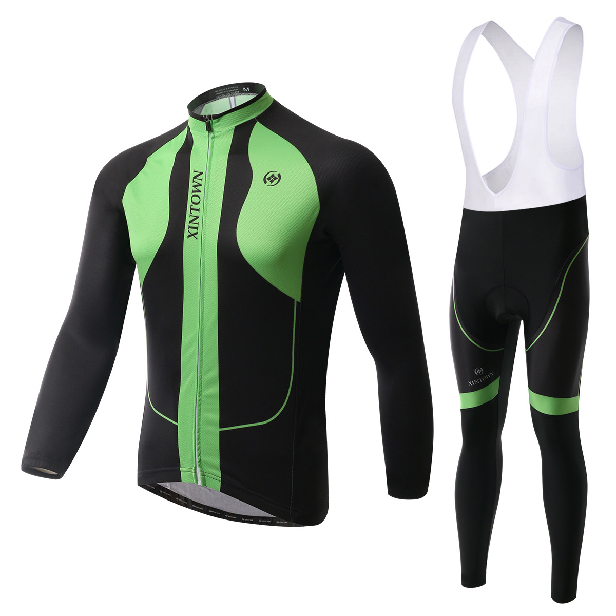 XINTOWN Dragon as green bike riding jersey strap long-sleeved suit wear bicycle suits fleece wind warm functional underwear