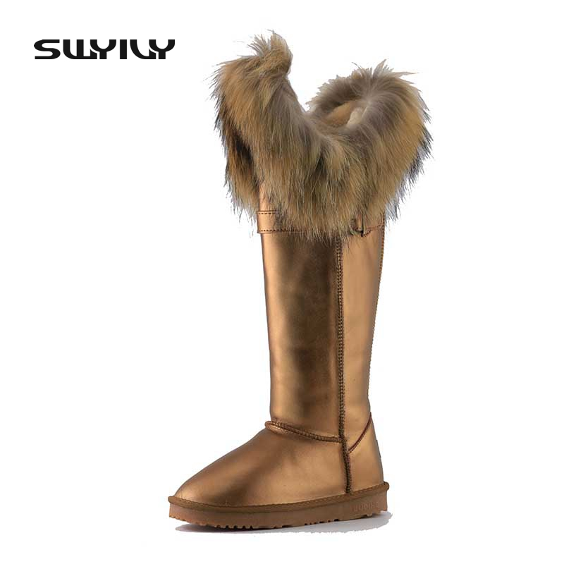 цена на Real Fox Fur Snow Boots Women Waterproof 2017 Flat Winter Shoes Knee High Boots Women Genuine Leather Warm Shoes Large Size 40