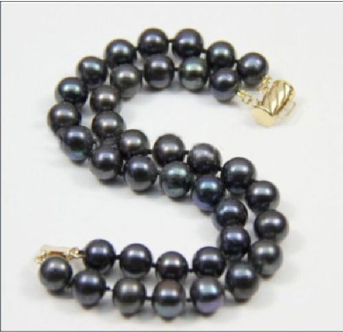 9-10MM 2 ROW AAA+ SUPERB south sea black PEARL BRACELET @^Noble style Natural Fine jewe SHIPPING new >>free shipping -Bride j