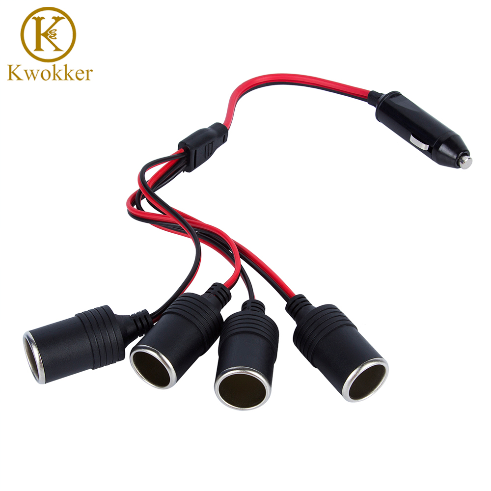 KWOKKER 4 in 1 <font><b>Car</b></font> Charger Cigarette Lighter Splitter Female Socket Plug <font><b>Power</b></font> <font><b>Adapter</b></font> Connector Auto Cable Input <font><b>12V</b></font> 24V Socket image