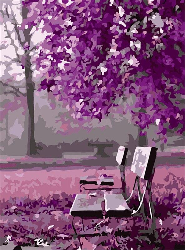 Nuovo Viola Romantico Paesaggio DIY Cuadros Colorazione
