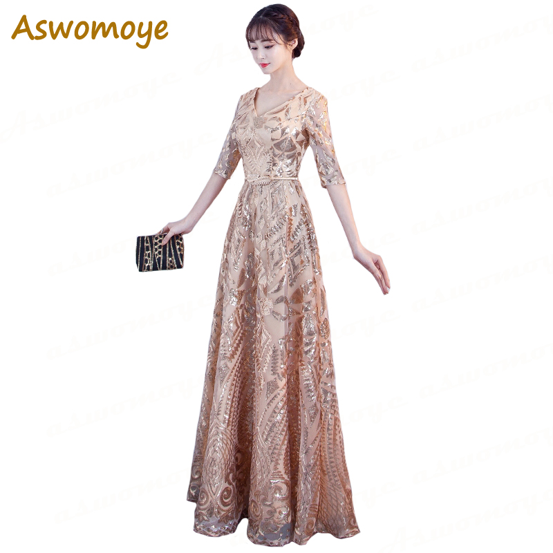 Aswomoye 2018 Spring New Stylish Elegant Long   Evening     Dress   V-Neck Party   Dresses   Sequins A-Line Formal Prom   Dress   robe de soiree