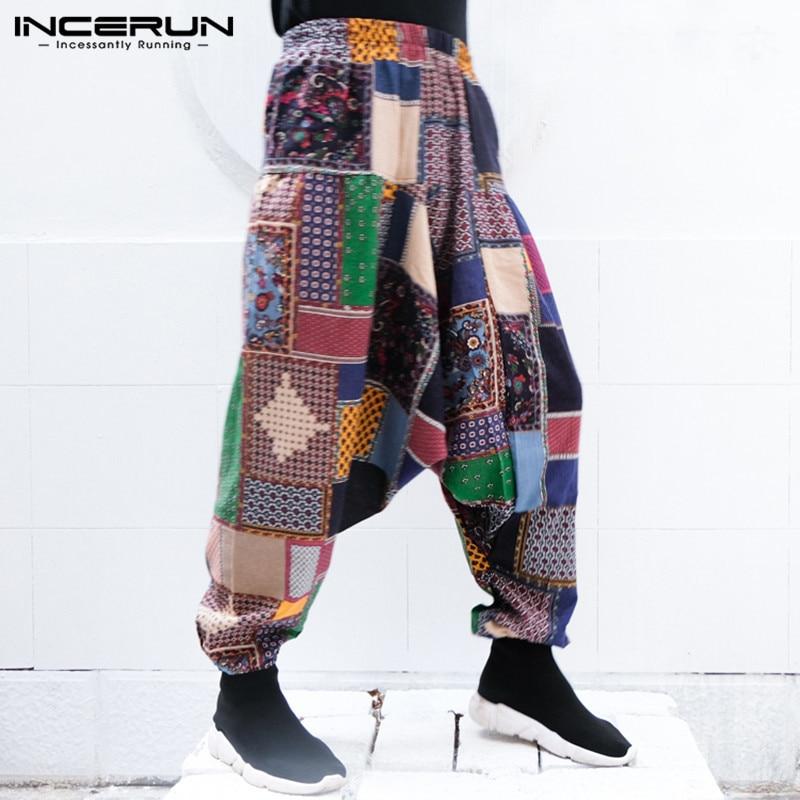 INCERUN Harem Pants Men Women Nepal Pants Baggy Low Crotch Trousers Loose Wide Pant Hiphop Elastic Waist Plus M-5XL Men Clothing