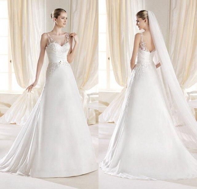Us 188 99 Vestidos De Noiva 2015 Long Sweetheart Appliques Spaghetti Straps Simple Elegant Chiffon Wedding Dress Bride Indian Dress Saree In Wedding