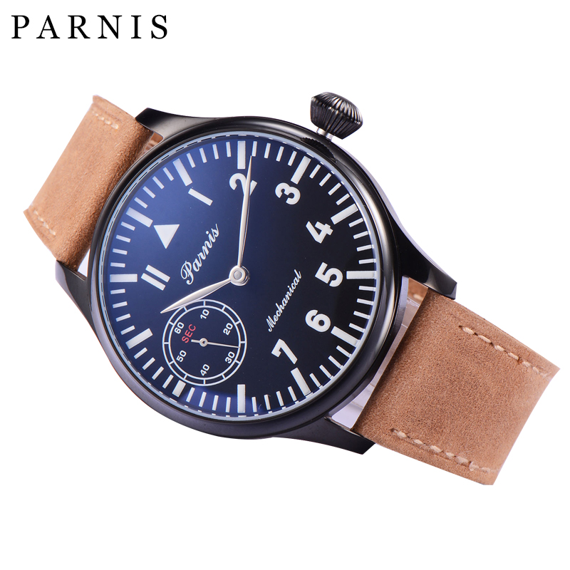 Casual-44mm-Parnis-Mechanical-Watches-Luminous-6497-Hand-Winding-Wrist-Watch-Men-Black-Dial-PVD-Case