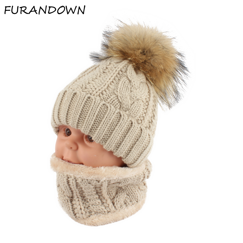 Kinder kinder Winter Hut Schal set Waschbär Fell Ball Hut Pom pom Mützen Baby Mädchen Warme Fleece Kappe Schal Set