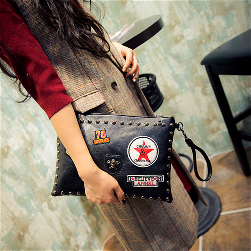 Pu Leather Ladies Fashion Badges Rivets Envelope Package Clutch Handbag Shoulder Bag Across Body Messenger Bag Three Color