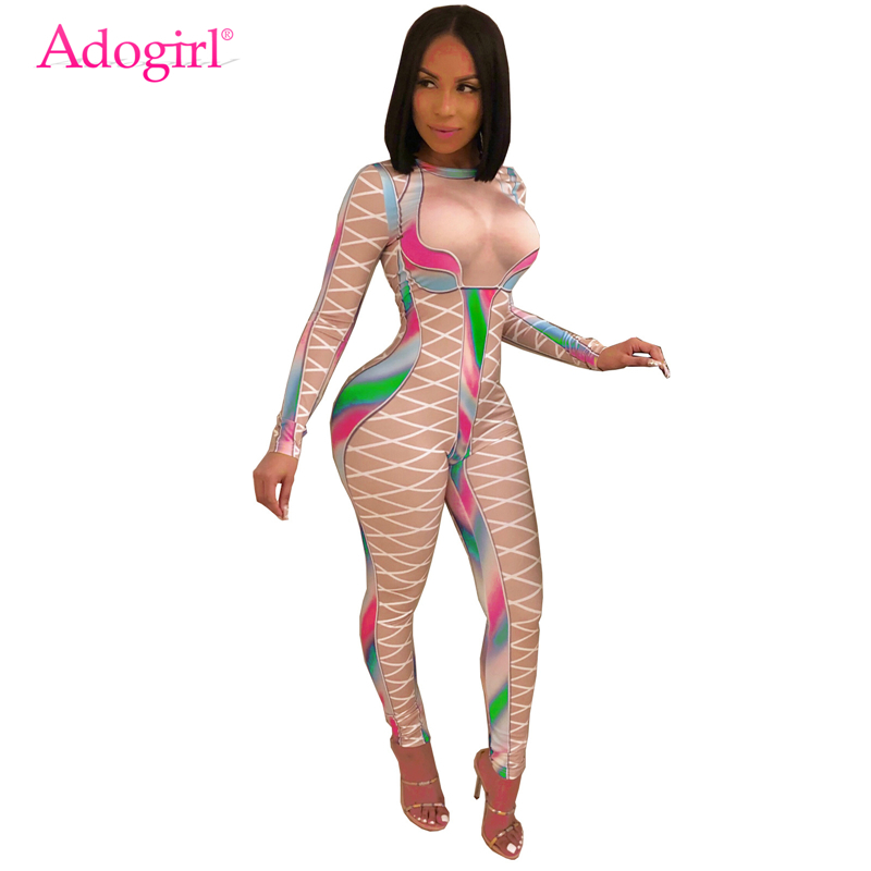 Adogirl Fake See Through Slim Women Jumpsuit Crisscross Colorful Print Long Sleeve Skinny Romper Fashion Casual Overall Clubwear