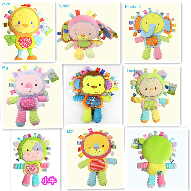 Colorful Cute Baby  Plush rattle Soft Toy Animal Dear sound Doll  Kid Child Birthday Happy Gift silver plated baby rattle keepsake set perfect gift idea