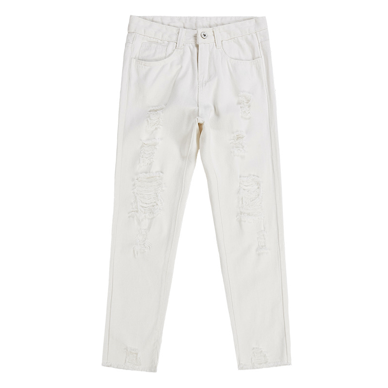 QA1254 New arrival Korean fashion style hole ripped jeans women white casual girls ankle length pants