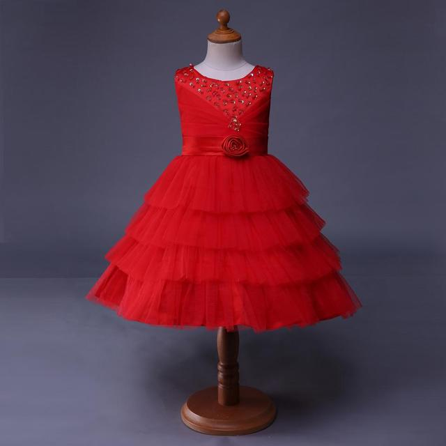 9004301bf9 Kwiat sukienki dla dziewczynek ślub Birthday Party czerwona sukienka kwiat  dziewczyna ubiera dzieci ubrania letnie GD40814