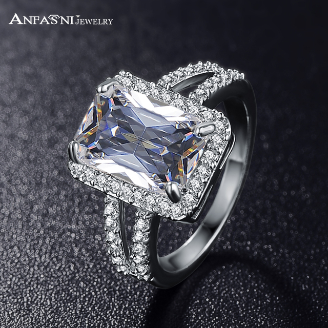 ANFASNI Big Rectangle Cut Princess Ring Silver Color Clear AAA Cubic Zircon Ring