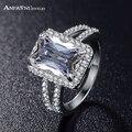 Anfasni big retângulo anel de corte da princesa de prata color clear aaa cubic zircon anel jóias da moda estilo ocidental cri0014
