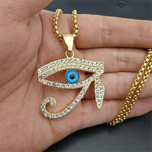 Hip Hop Ancient Egypt Eye of Horus Pendant Necklace For Women/Men Gold Color Stainless Steel Iced Out Bling Egyptian Jewelry(China)