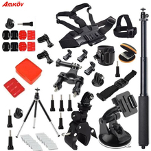 AMKOV for Gopro Accessories Set for Go Pro Hero 5 4 3 2 Kit Mount for SJ4000 Eken / SOOCOO / Xiaomi Yi 4k Camera Tripod 13M soocoo sports action camera accessories kit for soocoo camera gopro hero sjcam xiaomi yi eken chest clamp hand mount large bag
