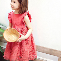 2016 Summer New Girls Korean Style Lace Dress Kid Elegant Evening Dress Girl Sleeveless Flower One