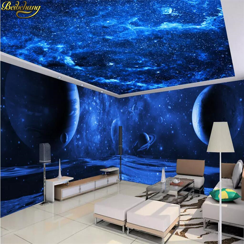 Beibehang Custom Wallpaper Mural Dreamy Blue Space Universe Moon Theme 3D Background Papel De Parede Wall Papers Home Decor