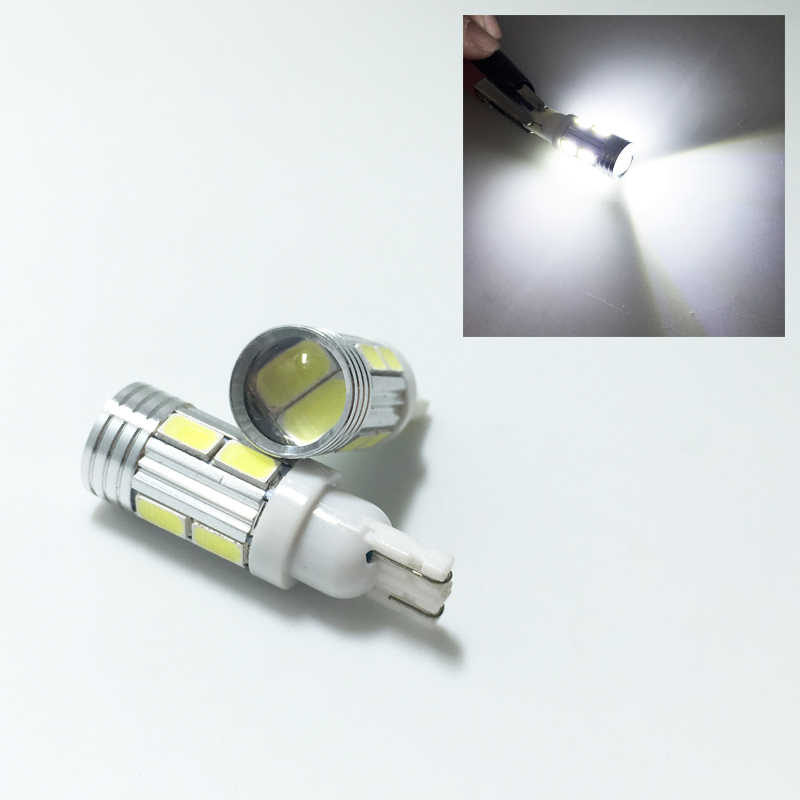 5 X Auto Car Light Bulb 5630 SMD 10 LED 10SMD T10 W5W 194 168 12V Cold White Interior Parking Projector Lens