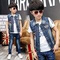 2016 весной и осенью 3-6-12-15 лет мальчики денима жилет мода синий хлопок жилет для дети ребенок мальчик одежда детей-подростков