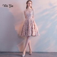 weiyin Lace Cocktail Dresses Women Elegant V neck Summer Cocktail Party Short Formal Dresses Women's Vestidos WY822