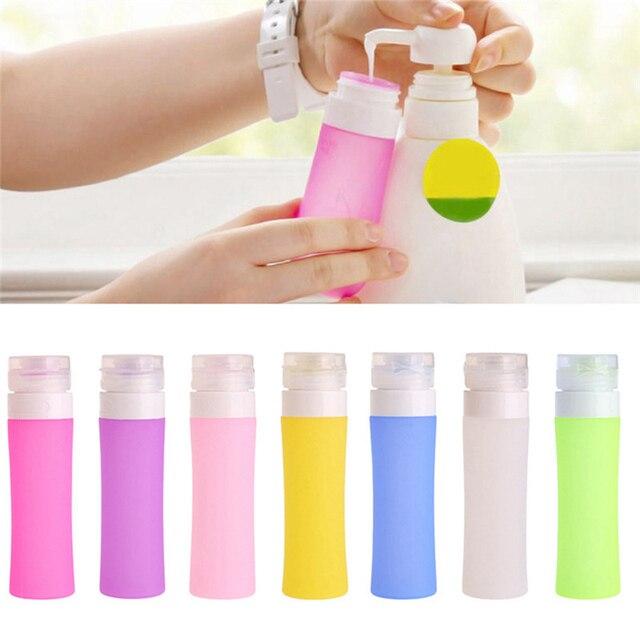 Botella de silicona rellenable cosmética portátil loción de viajero recipientes para champú de baño
