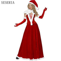 SESERIA 5 Pcs Women Christmas Costumes Sexy Red Christmas Dress Santa Claus Costumes for Adults Uniform