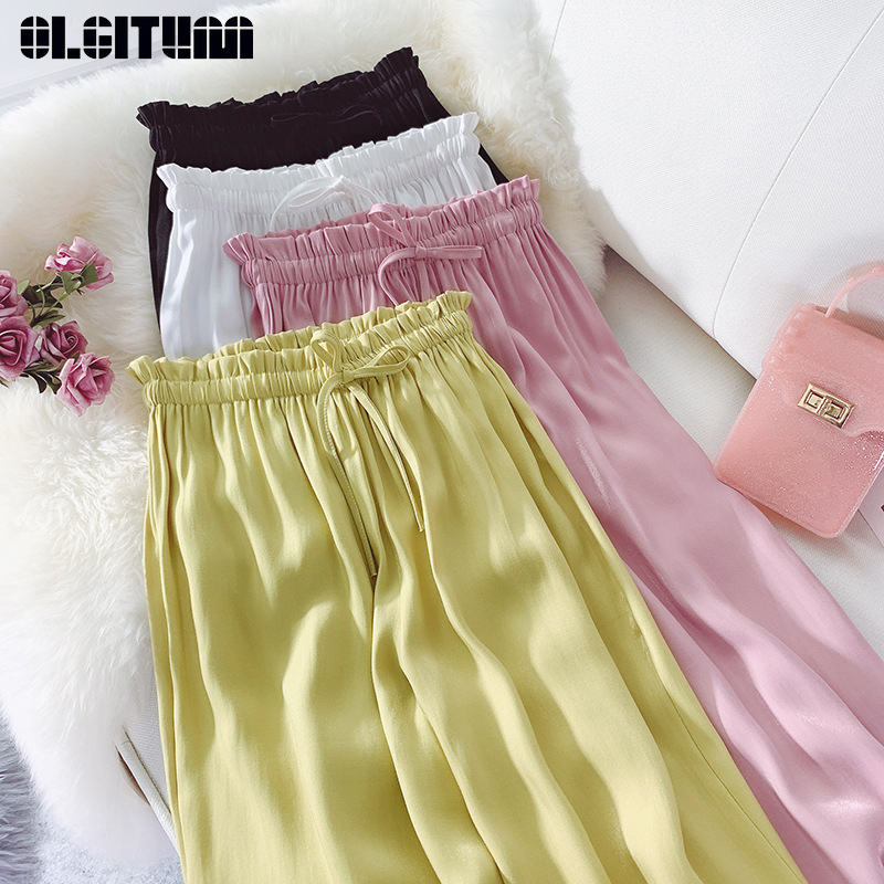 New 2019 Streetwear Women Satin   Pants   Summer High Waist Drawstring   Pants   Trousers Causal Soft Long   Wide     Leg     Pants   Female
