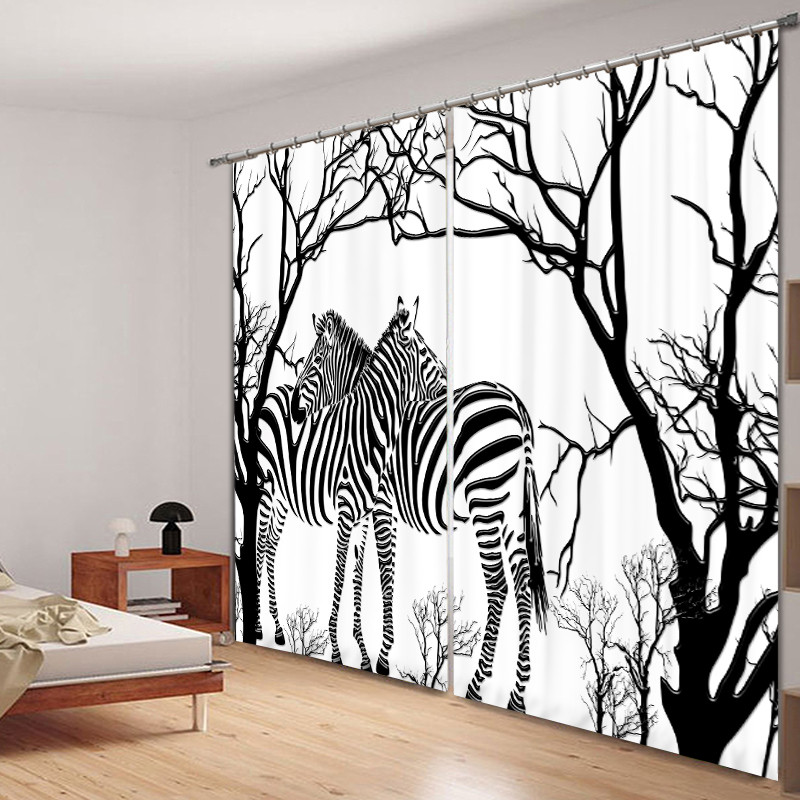 Black-and-white Zebra Print Luxury Blackout 3D Window Curtain Living Room Bedroom Drapes Cortinas Rideaux Customized Pillowcase