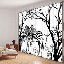 Pillowcase Cortinas Luxury Blackout Window-Curtain Drapes Black-And-White Bedroom Print