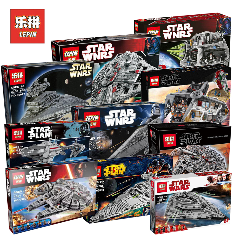Lepin 05132 05007 05151 05028 Star Wars Figures Millennium Falcon Set Model Building Blocks Bricks Toy Compatible LegoINGs 75192 2018 dhl lepin star series war 05007 05033 05132 building blocks bricks model toys compatible 75105 10179 75192 gifts