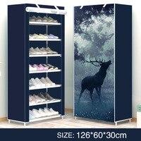 modern style Elk Shoe rack print Deformable Multi Layer Nonwovens Easy Assemble Shelf Shoe cabinet Doorway Organizer For Shoes