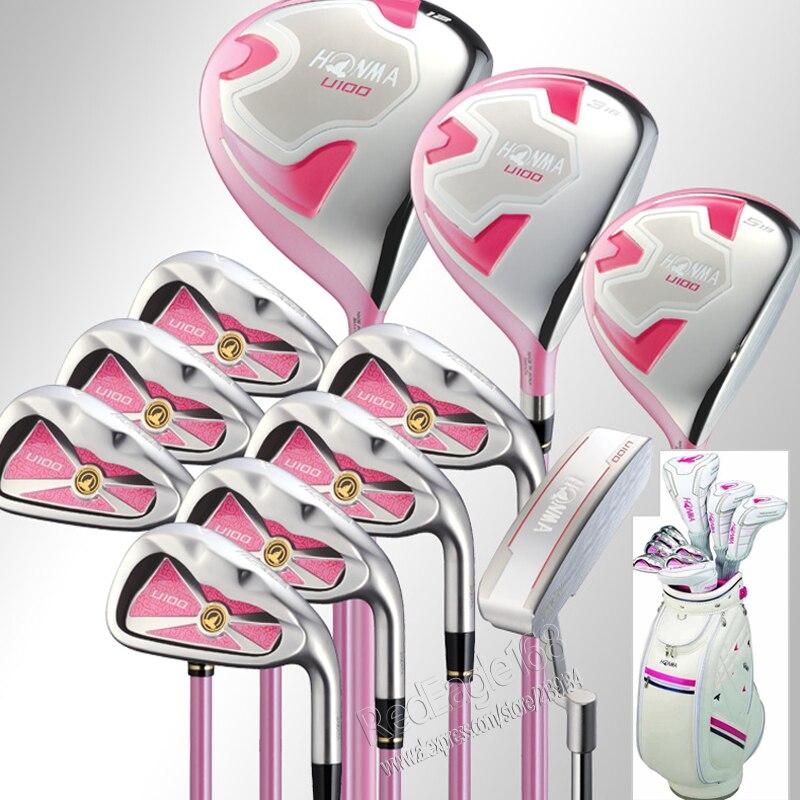 Cooyute New Women Honma U100 Golf Clubs Compelete Set Wood+irons+Putter+Golf Bag And Graphite Golf Shaft Clubs Set Free Shipping