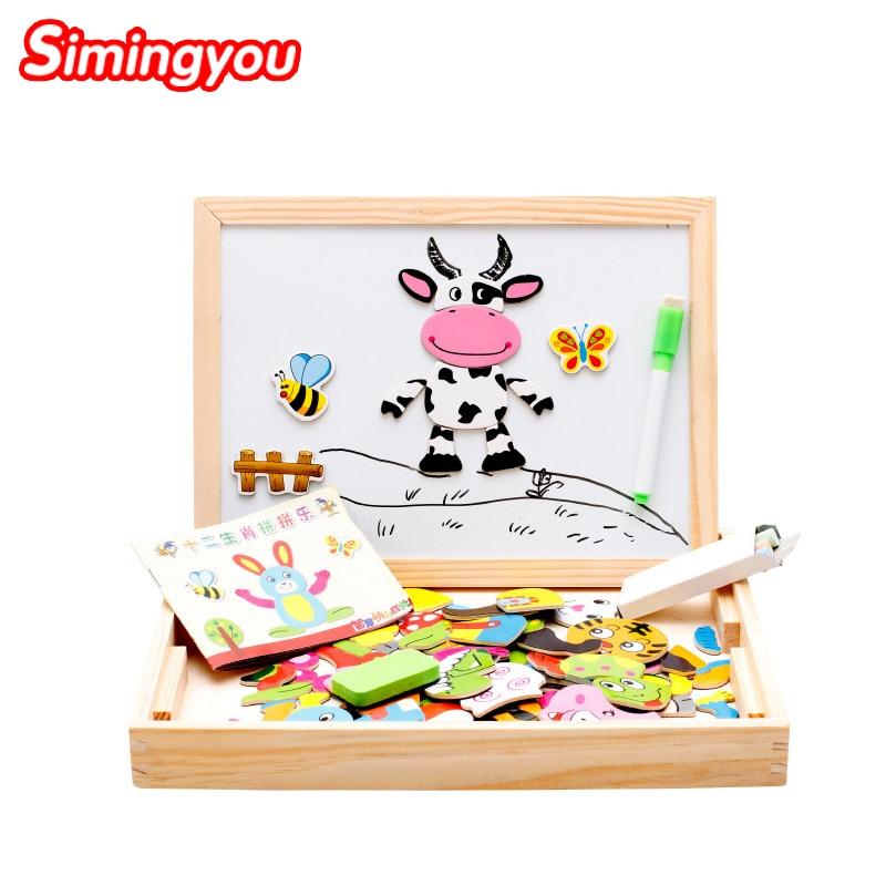 Simingyou Montessori dřevěné puzzle 30 * 23 * 3cm děti magnetické vzdělávací hračky 12 čínských Zodiac MGW24 DropShipping