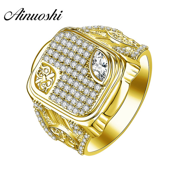 55c7ddc69e AINUOSHI 10K Solid Yellow Gold Wedding Band 7.9g Marquise Cut SONA Diamond Male  Band Wedding Engagement Gold Jewelry Men Ring