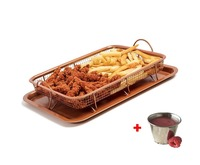 Crisper Fry Basket Nonstick Copper Tray Air Fryer Basket Baking Pan Set Oven Baking Trays Biscuit Loaf Pan Cooking Tools