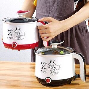 Image 1 - Мини рисоварка, 220 В, электрическая машина для приготовления пищи, в наличии один/два слоя, многофункциональная электрическая рисоварка с горячим горшком, ЕС/Великобритания/Австралия/США
