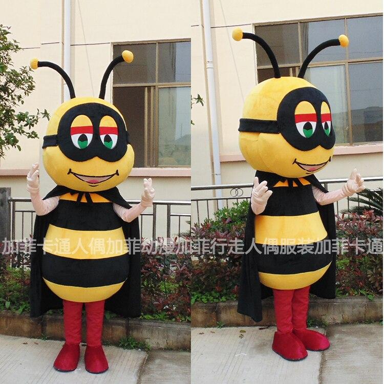 Costume de Mascotte d'abeille bourdon jaune noir Mascotte abeille Costume de Mascotte Halloween Cosplay tenues de fête