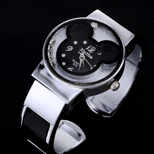 2018 New Fashion Bangle Watches Women Brand Mickey Mouse Stainless Steel Watch C