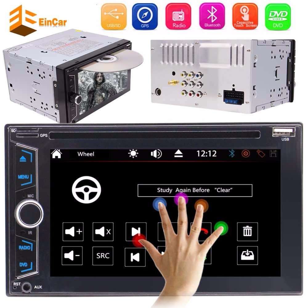 2 Din Car Multimedia Stereo DVD Player GPS Navigation Radio Bluetooth automotive motor vehicle support USD SD 1080P in console