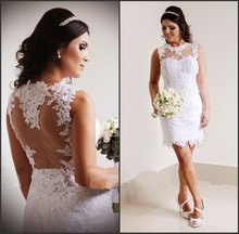 2015 Vestido De Noiva Curto New Fashion Sheer Back Short Mini White Lace Wedding Dresses Renda Casamento ZY017